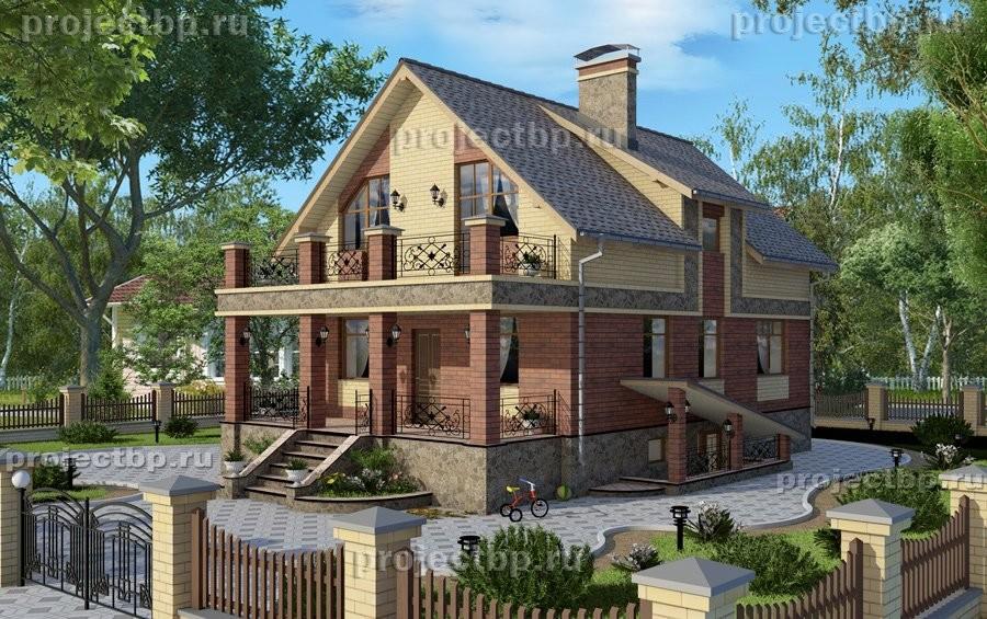 Проект дома с мансардой, подвалом и балконом 178-B